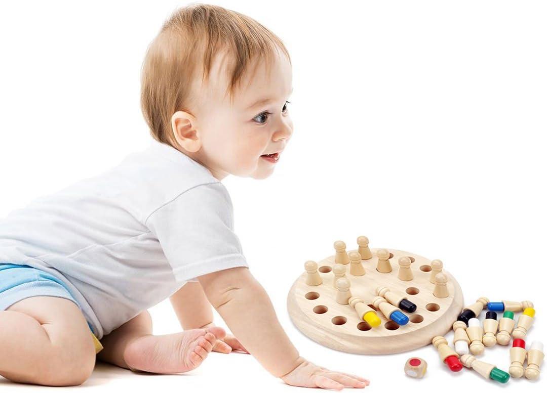 hj 24 Piezas de Ajedrez de Memoria de Madera para Niños, Juguete Educativo 3D para la Educación Preescolar, Memory Chees: Amazon.es: Juguetes y juegos