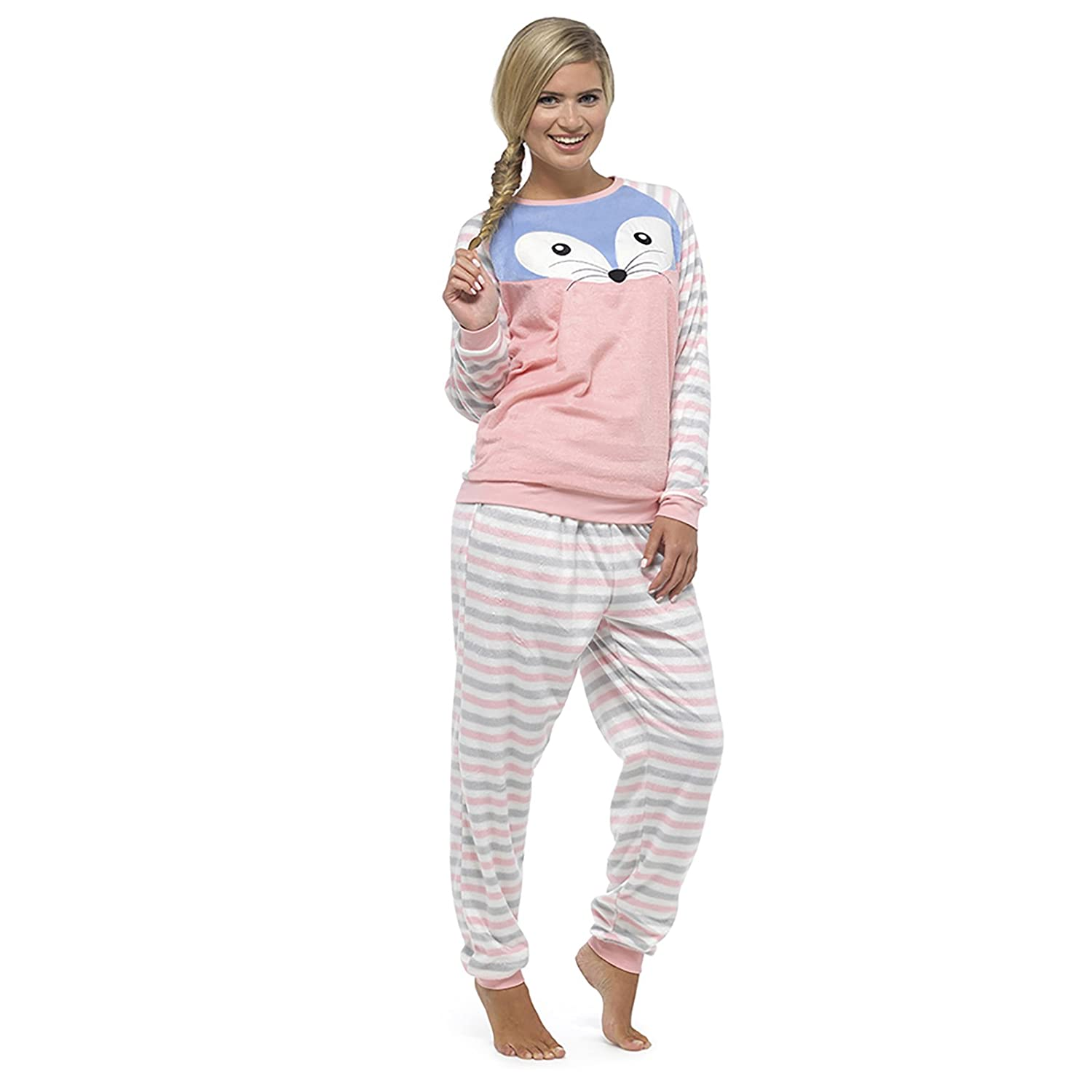 Foxbury Womens Animal Twosie Pyjama Set Top Bottoms Cosy Fleece Gift Pink/Blue RJM
