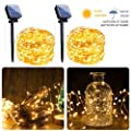 Outdoor Solar String Lights 2 Pack 33ft 100 Led Solar Fairy Lights Waterproof Decoration Copper Wire Lights With 8 Modes For Patio Yard Trees Christmas Wedding Party Decor Warm White