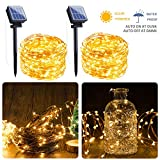 Outdoor Solar String Lights, 2 Pack 33FT 100 LED Solar Fairy Lights Waterproof Decoration Copper Wire Lights with 8 Modes for Patio Yard Trees Christmas Wedding Party Decor (Warm White)