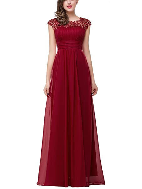 Babyonlinedress - Vestido largo de noche con escote en la espalda rojo granate 46