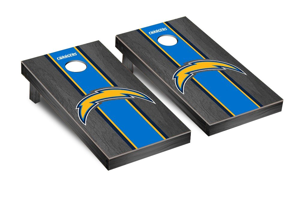 NFL San Diego Chargers Onyx Stained Stripe Version 2 Football Corn hole Game Set, One Size