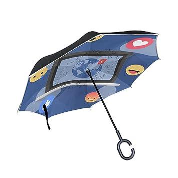 BENNIGIRY Emoji Parche de punto de doble capa invertido paraguas reversible plegable paraguas por protección UV