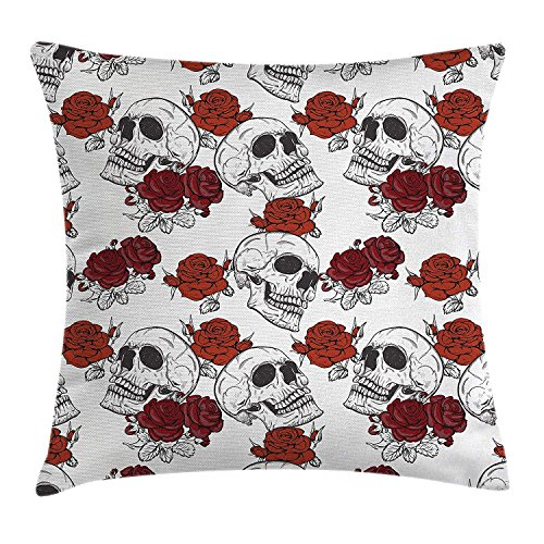 MHKLTA Skull Decorations Throw Pillow Cushion Cover, Retro Gothic Dead Skeleton Figures with Rose Halloween Spooky Trippy Romantic, Decorative Square Accent Pillow Case, 18 X 18 inches, -