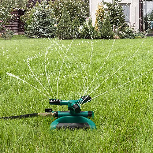 Water Sprinkler Lawn Irrigation System, 360 Degree Automatically Rotating Adjustable Garden Sprinklers Covering Large Area With Butterfly Design Durable 3 Arm Sprayer