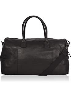 Superb Real Leather Holdall Black Large Sports Weekend Cabin Bag Travel Duffle A311
