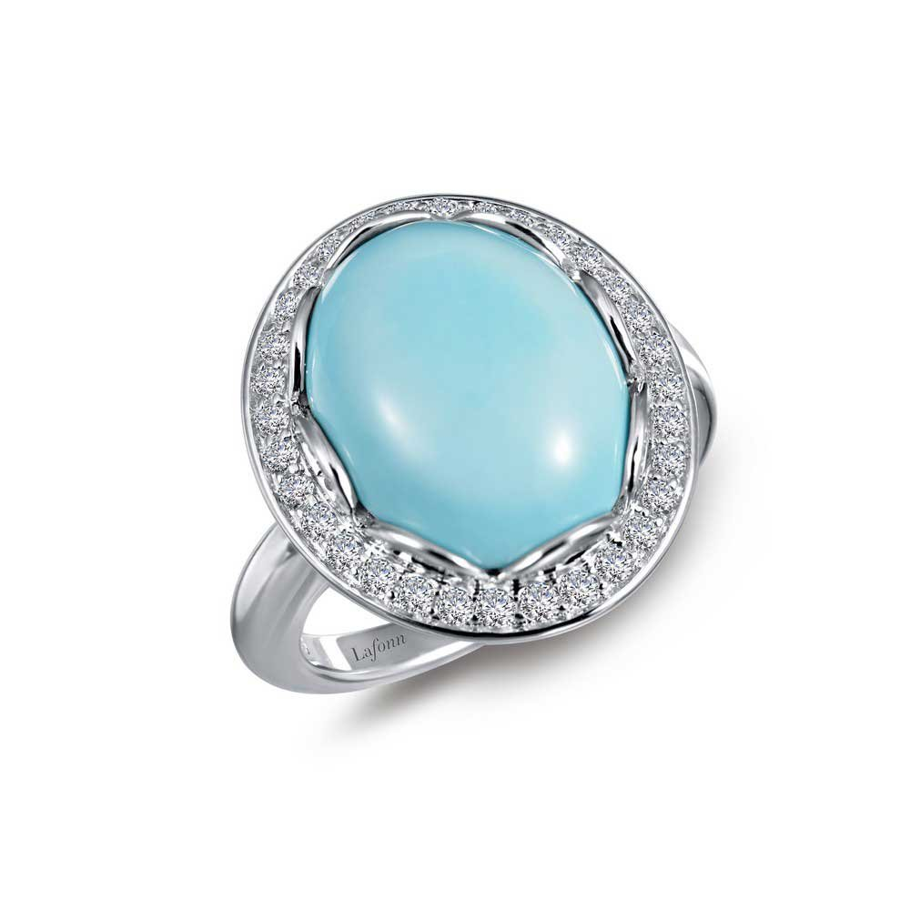 Lafonn Classic Simulated Turquoise Ring, Platinum-Plated