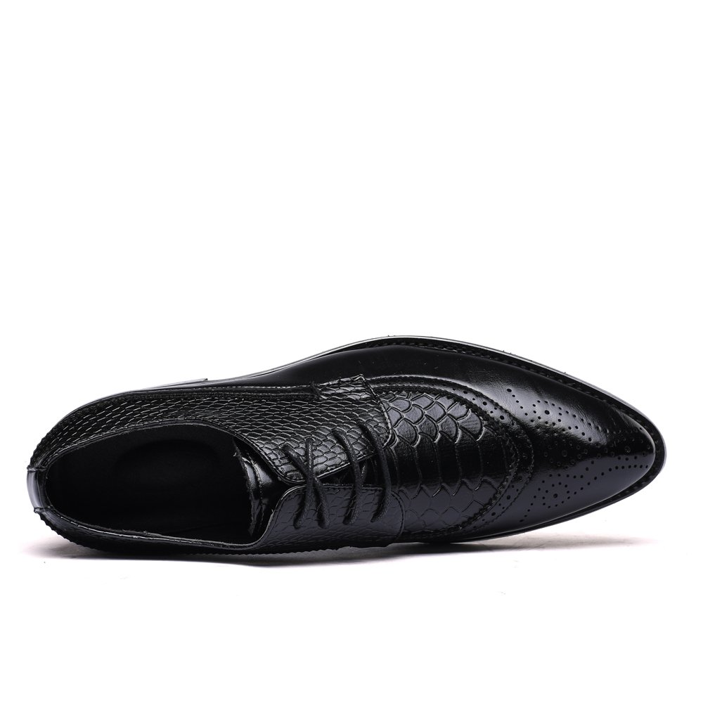 WULFUL Men's Leather Dress Oxfords Shoes Business Retro Gentleman Black 7.5-8 D(M) US by WULFUL (Image #4)
