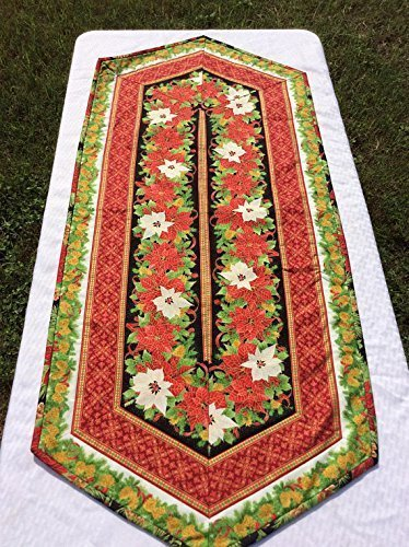 Christmas Metallic Table Runner Table Topper with Hollys in Gold Creme Red and Green Handmade Homemade Quilt Quilted