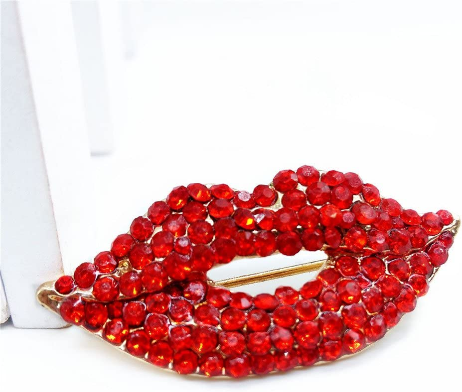 Reizteko Crystal Lip Kiss Brooches Pin Women Alloy Rhinestone Collar Corsage Jewelry red