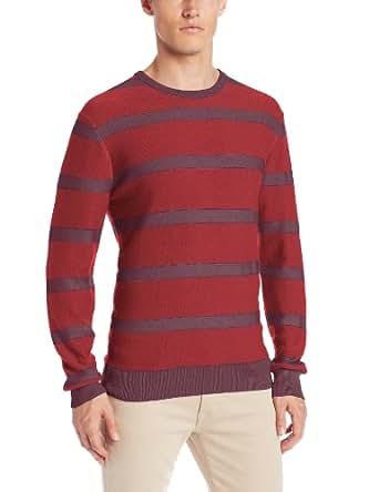 Calvin Klein Jeans Men's Plaited Stripe Sweater, Maison Rouge, Small