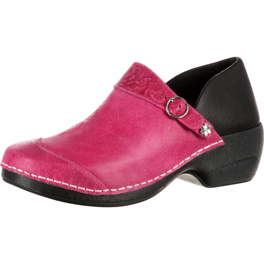 4EurSole Women's Western Embellished Leather Clog RKYH035,Magenta Leather,EU 36
