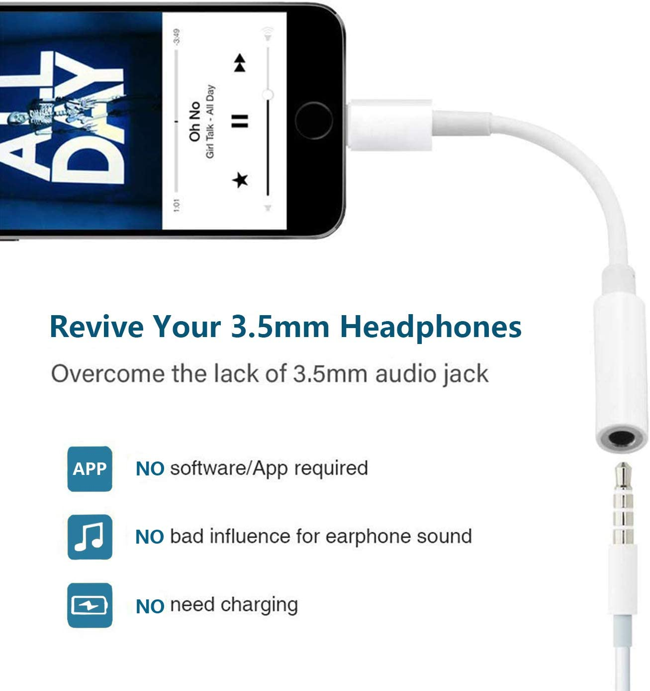 for iPhone Headphone Adapter Jack to 3.5mm Dongle for iPhone 11//Xs//XR//XS Max//X //8//8Plus//7//7Plus.Earphone Adaptor Female Connector Audio Cable Earbuds Aux Converter Support All iOS System-White 2 Pack