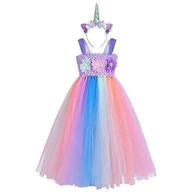 ddd2dcc86067e YiZYiF Enfant Fille Licorne Tutu Robe Soirée Tulle Robe de Danse Ballet  Floral Robe Princesse Longue