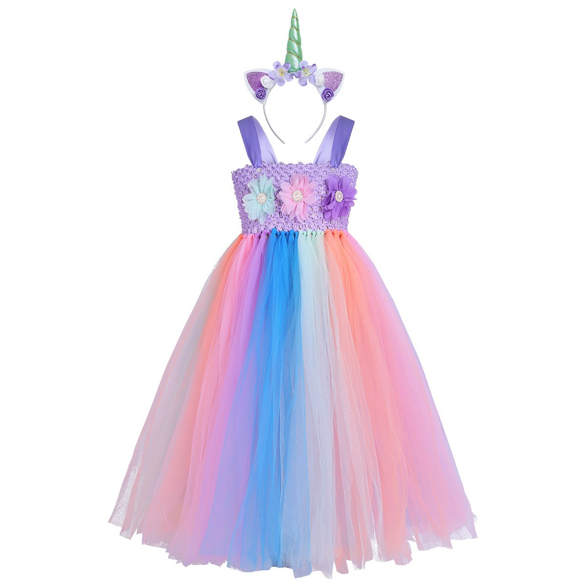 FEESHOW Kids Girls Rainbow Train Tutu Dress with Headband Party Outfit Easter Fancy Dress up Costumes Purple Rainbow 7-8