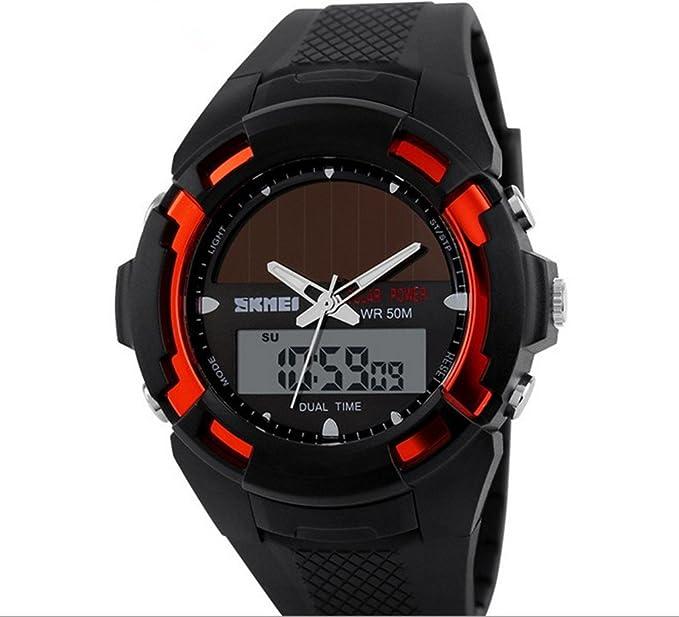 Skmei 1056outdoor multifuncional hombres hora Dual deporte Relojes pantalla solar 50 M resistente al agua (
