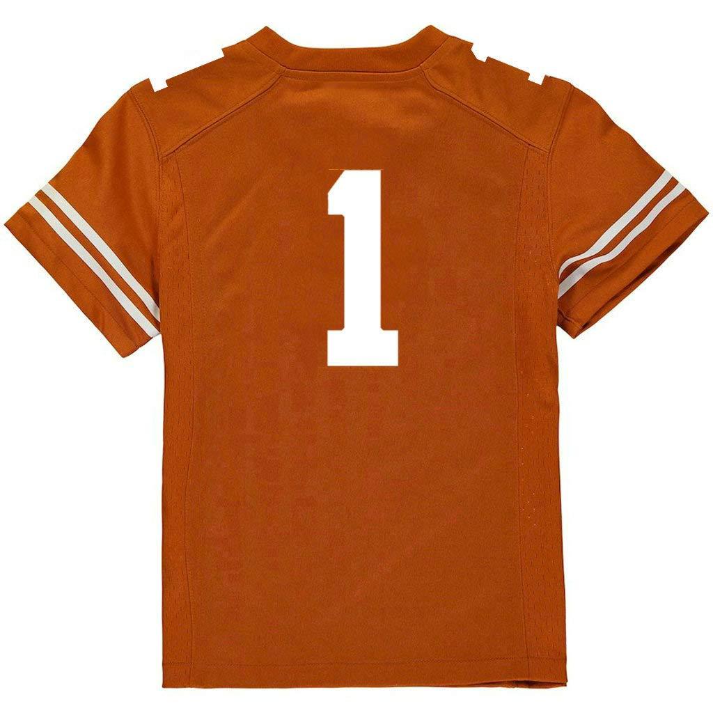 yicana - Camiseta de fútbol de Texas Naranja con número Cosido sin ...