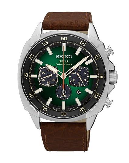 Seiko Reloj Cronógrafo para Hombre de Cuarzo con Correa en Cuero SSC513P9: Seiko: Amazon.es: Relojes