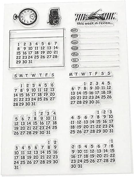 HuntGold Calendario semanal Mes transparente transparente sello Cling hojas DIY Junta artesanía Scrapbook: Amazon.es: Hogar