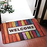 Brandream Welcome Floor Mat Rubber Door Mat Kitchen Bathroom Waterproof Nonslip Area Carpet,Colorful Rainbow