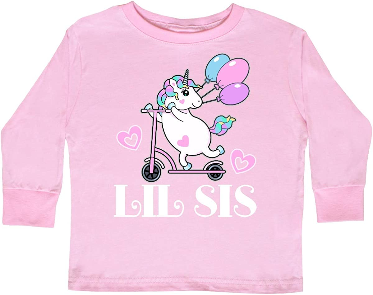 inktastic Lil Sis Unicorn Sister Announcement Toddler Long Sleeve T-Shirt