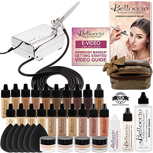 3, Complete Professional Belloccio Airbrush Cosmetic Makeup System with a MASTER SET of All 17 Foundation Color