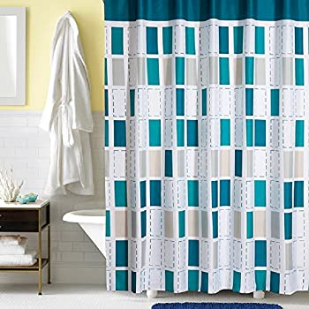Ufaitheart Fashion Checkered Shower Curtain 54 X 72 Inch Stall Fabric Bath Artistic Decorative Multi Color Turquoise White Gray