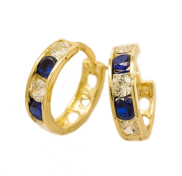 ASS 585 Gold Kinder Ohrringe Creolen 10mm winzig mit Zirkonia blau Saphir, weiß, Neu