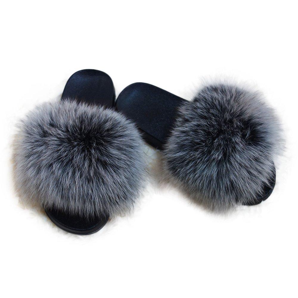 Manka Vesa Women Real Fox Fur Feather Vegan Leather Open Toe Single Strap Slip On Sandals Gray,10(inner length 11.02in width3.74in)