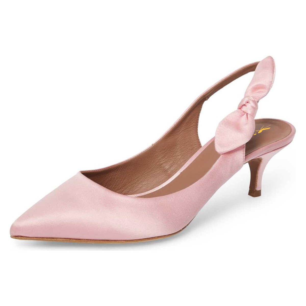 XYD Women Mid Kitten Heel Slingback Pumps Pointed Toe Slip On Dress Sandal Shoes With Bows Size 13 Pink