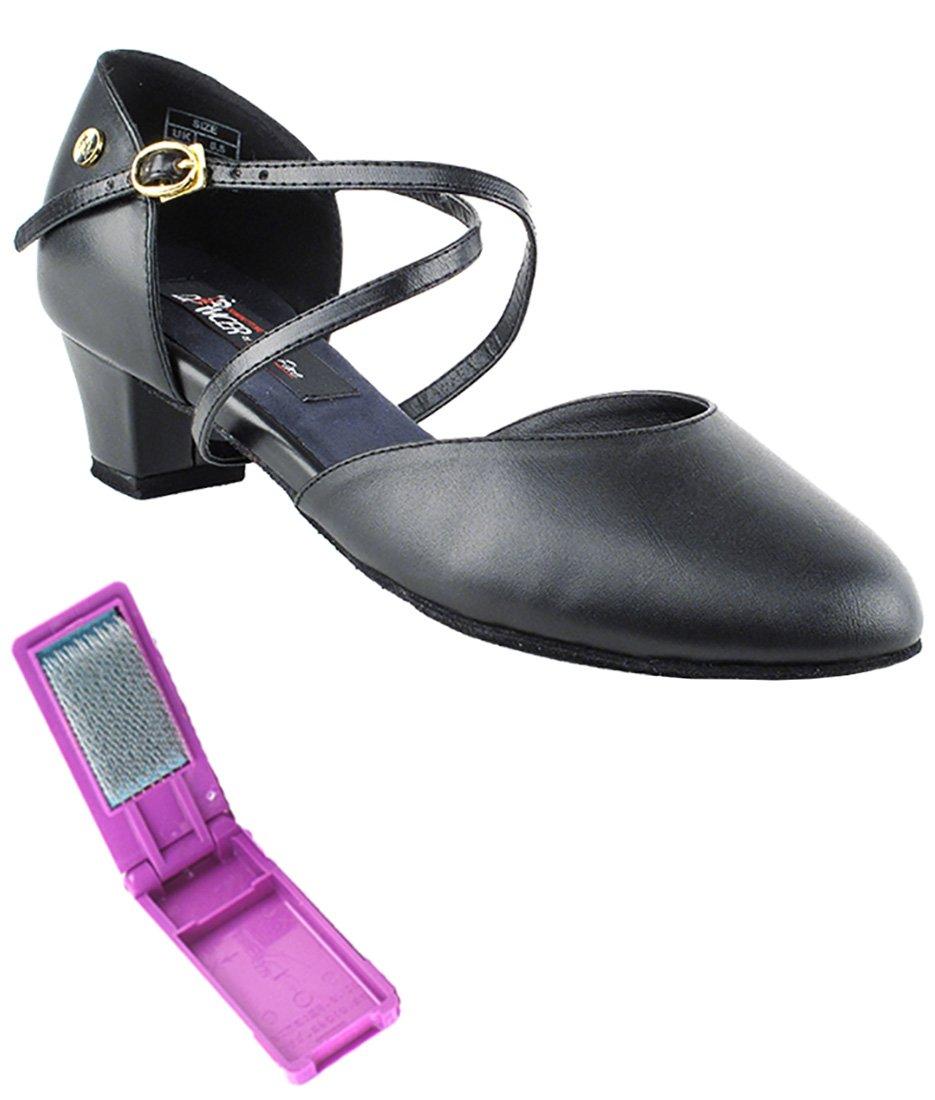 Very Fine Ballroom Latin Tango Salsa Dance Shoes for Women - CD1123DB 1.5 inch Heel + Foldable Brush Bundle - Black Leather - 7.5