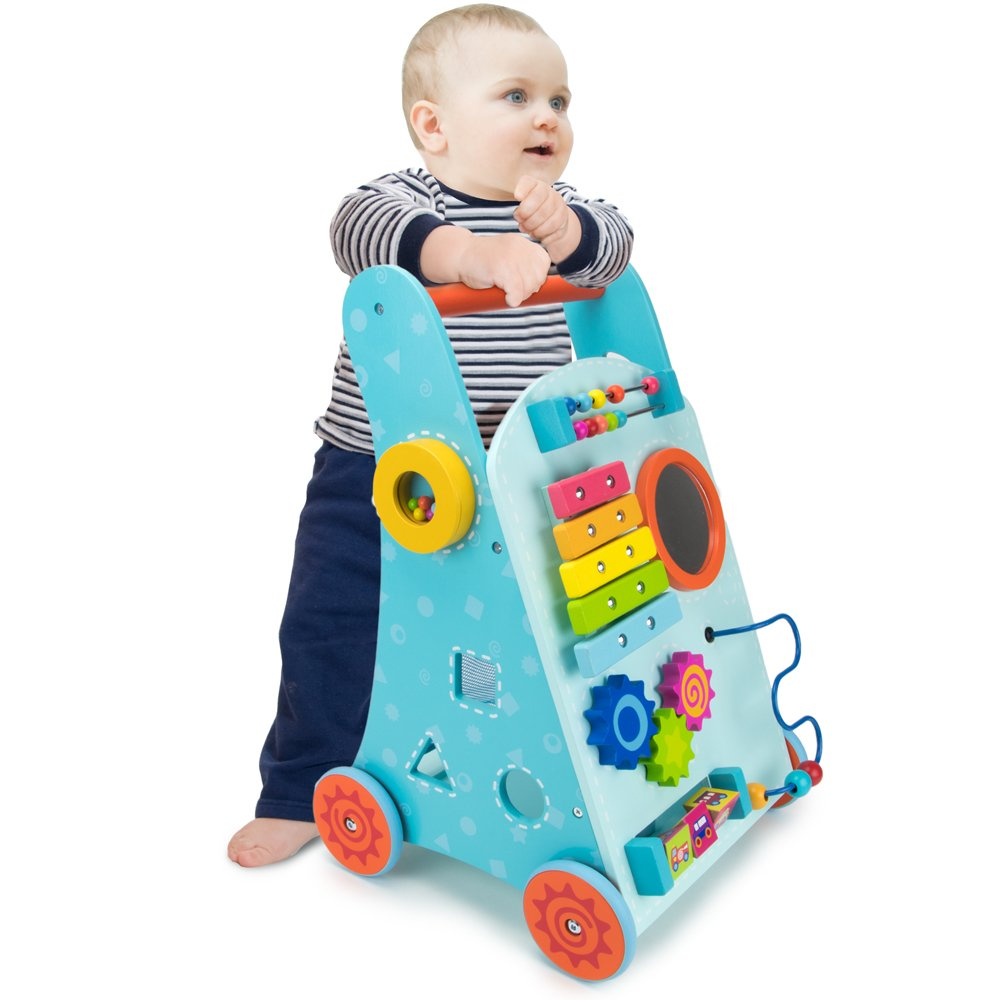 Blue Push-n-Play Wooden Learning Walker Toy, 10 Fun Activities for Sitting, Standing, & Walking Toddlers by Imagination Generation