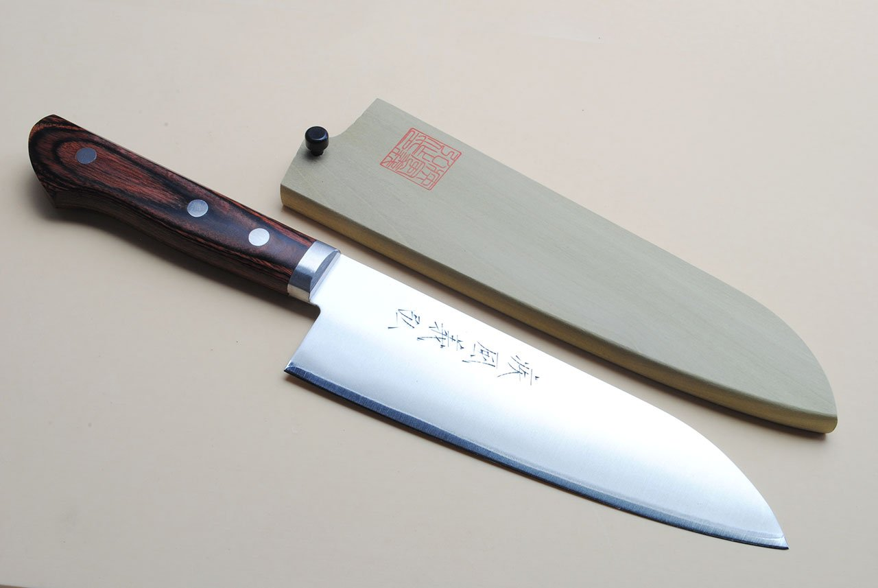 Yoshihiro VG-1 Gold Stainless Steel Santoku Multipurpose Chefs Knife 6.5'' (165mm) Magnoila Wood Saya Cover
