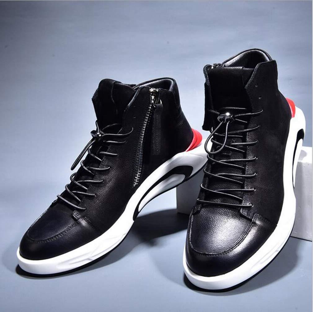 Hy Herrenschuhe, Leder High-Top-Flat-Deck-Schuh Trainingsschuhe Dicke untere Komfort-Turnschuhe, Student Slip-Ons Trainingsschuhe High-Top-Flat-Deck-Schuh Laufschuhe (Farbe   EIN, Größe   42) ecb47b