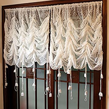 FADFAY Beautiful Lace Sheer Balloon Curtains Luxury White Embroidered Sheer  Curtains,1 Panel Window Tulle