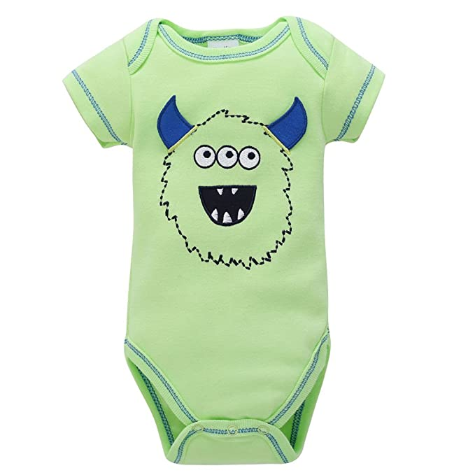 a8cefe03f676 Newborn Kids Baby Boys Girls Cartoon Printing Onesies Romper Jumpsuit Outfits  Clothes Green