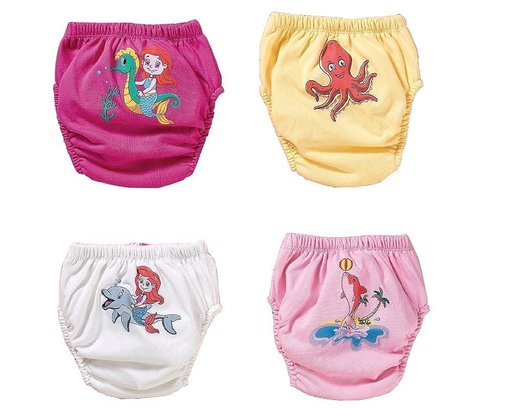 4 Stk. Meerestiere Trainerhosen | Waschbare Trainingswindel | Lernwindel | Toilettentrainerhose | Baby Training Pants | Kinder Unterwäsche Unterhosen | Windelhose | Töpfchenhose