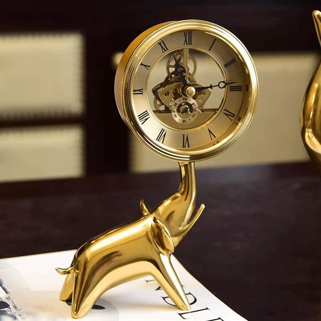 HONGNA Brass Small Elephant Clock European Clock Gear Rotating Table Clock Creative Living Room Study Decoration Crafts Ornaments Hollow Movement (Size : 1420cm) by HONGNA (Image #5)
