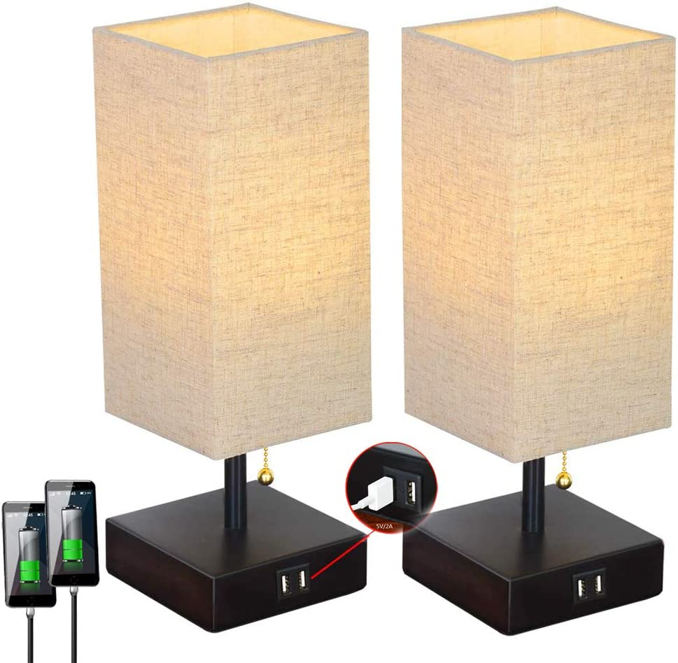 Pack of 2 Dual USB Table Desk Lamp Fabric Unique Lampshde,Convenient Pull Chain for Bedroom Living Room Bedside Nightstand Lamp TY-801