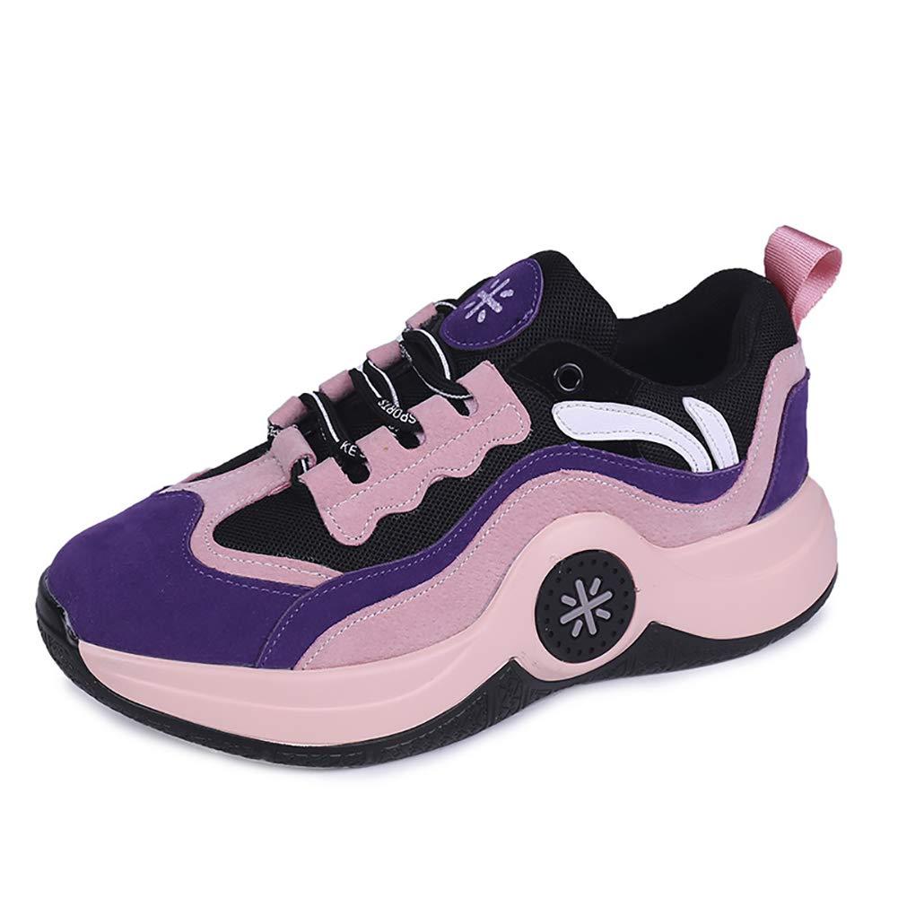Frauen Casual Sportschuhe Keil Plateauschuhe Schnürschuhe Wanderschuhe Fitness Shake Schuhe Höhe Zunehmende Trainer