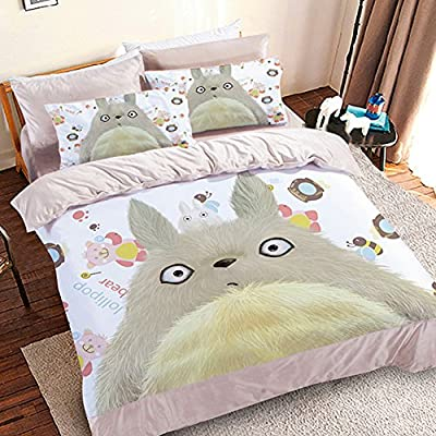 Sport do My Neighbor Totoro Series Cartoon Bedding Set,Thicken Warm Totoro Quilt Cover Set,Upgrade Coral Velvet Kids Bed Set,Flat Sheet,Twin,3-piece