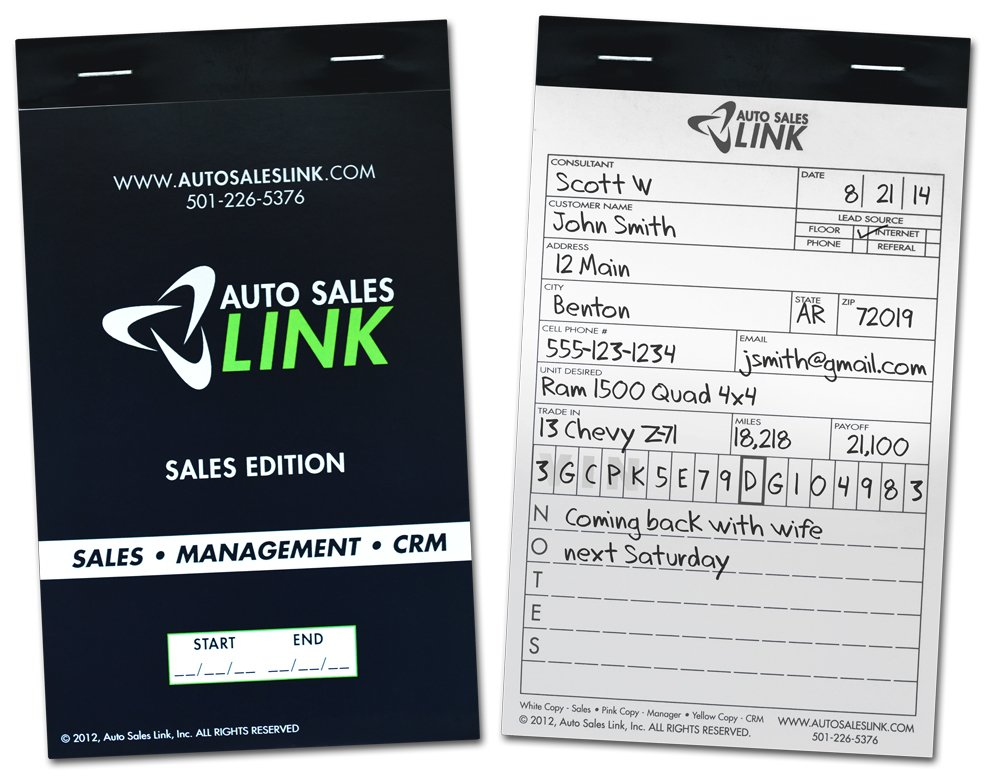 Auto Sales CRM Entry Book - LINK your sales team, management team and CRM system and give EVERY lead an opportunity to be turned into a SALE! (Case of 20)