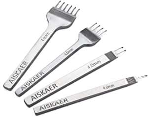 Aiskaer White Steel 4mm 1/2/4/6 Prong DIY Diamond Lacing Stitching Chisel Set Leather Craft Kits (4mm)