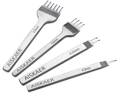 Aiskaer White Steel 4mm 1/2/4/6 Prong DIY Diamond Lacing Stitching Chisel Set Leather Craft Kits (4mm)