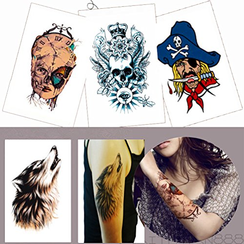[4 Sheets Arm Tattooes Unique Totem Temporary Tattoo Sticker Decal Body Art Waterproof Fake Ideal for Men/Women Arm, Leg 22x15cm--Group] (Book Week Group Costumes)