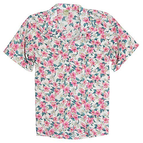 Men's Short Sleeve Rayon Hawaiian Tropical Patterns Shirts (Tropical Flowers, Large)