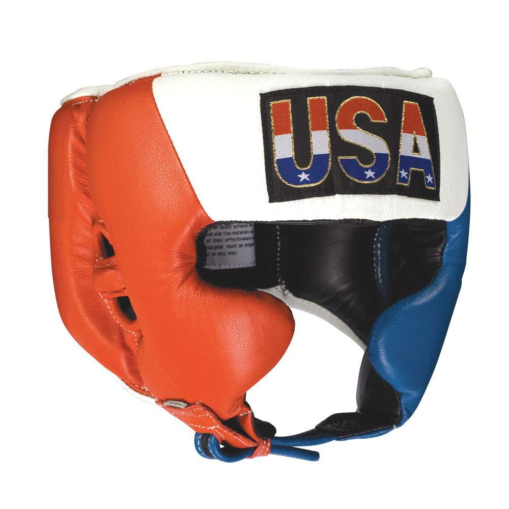 (リングサイド)Ringside Competition ヘッドプロテクションギア チーク付き ボクシング ムエタイ MMA スパーリング 赤-白い-青 Large
