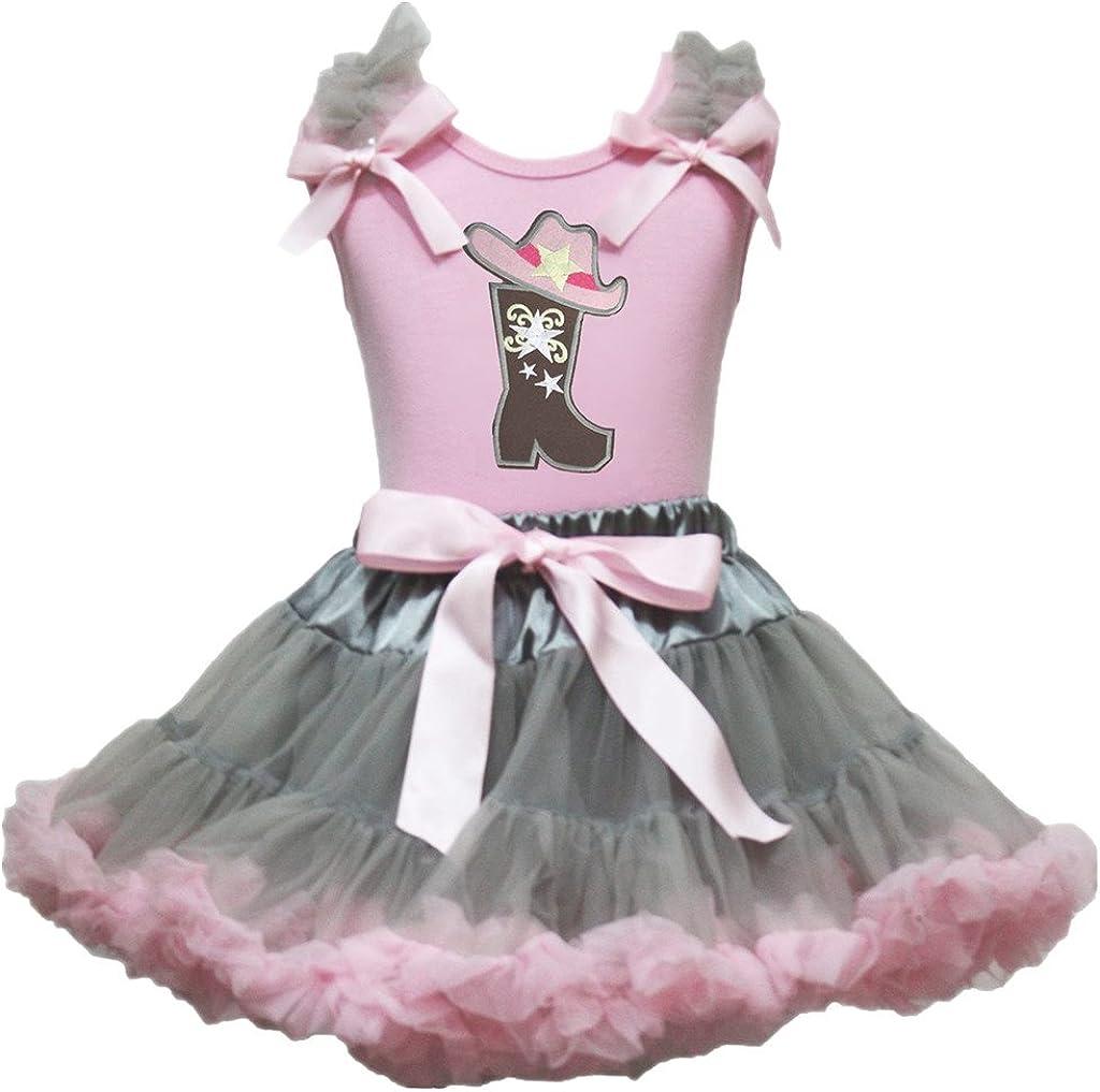 Petitebelle Disfraz de Vaquera para Sombrero Rosa Camiseta Gris Rosa Disfraz de Falda Outfit Set 1 – 8Y