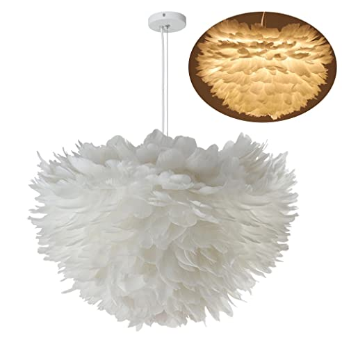 LEDMOMO Weiße Feder Decke Pendelleuchte, E27 Led Pendelleuchten Lampen Leuchten  Für Wohnzimmer Schlafzimmer Restaurants Dekoration