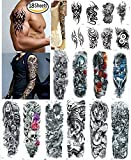 Nutrition Bizz Extra Large Temporary Tattoos Full Half Arm Tattoo Sleeves 18 Sheets for Men Women Teen Fake Tattoo Biker Tattoo Waterproof Sticker Tribal Totem Henna Beach Arms Shoulders Ch (3)